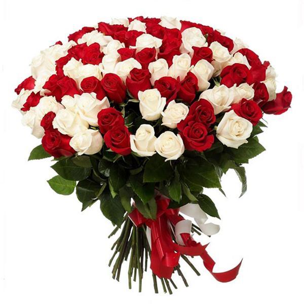 Букет Из 101 Красных И Белых Роз